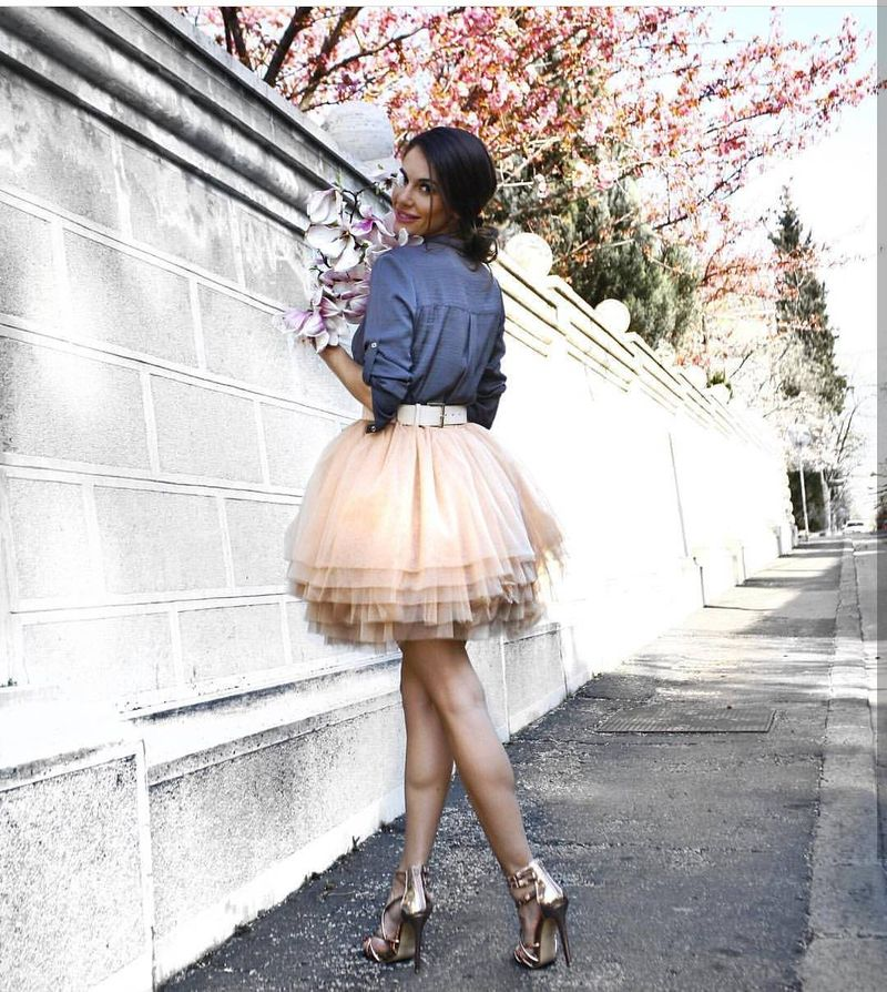 Going out outfit with fairy tale tutu skirt toned down by the denim shirt