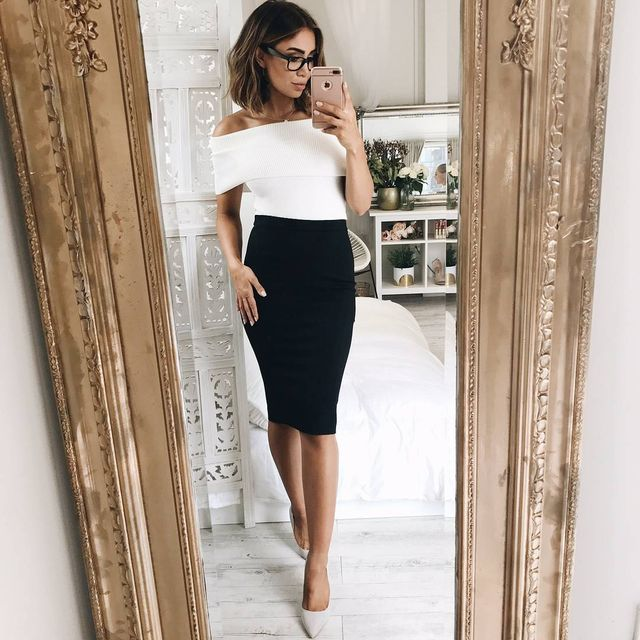 Up the elegance of your date or work outfit by jumping on the off-shoulder top trend and a black pencil skirt