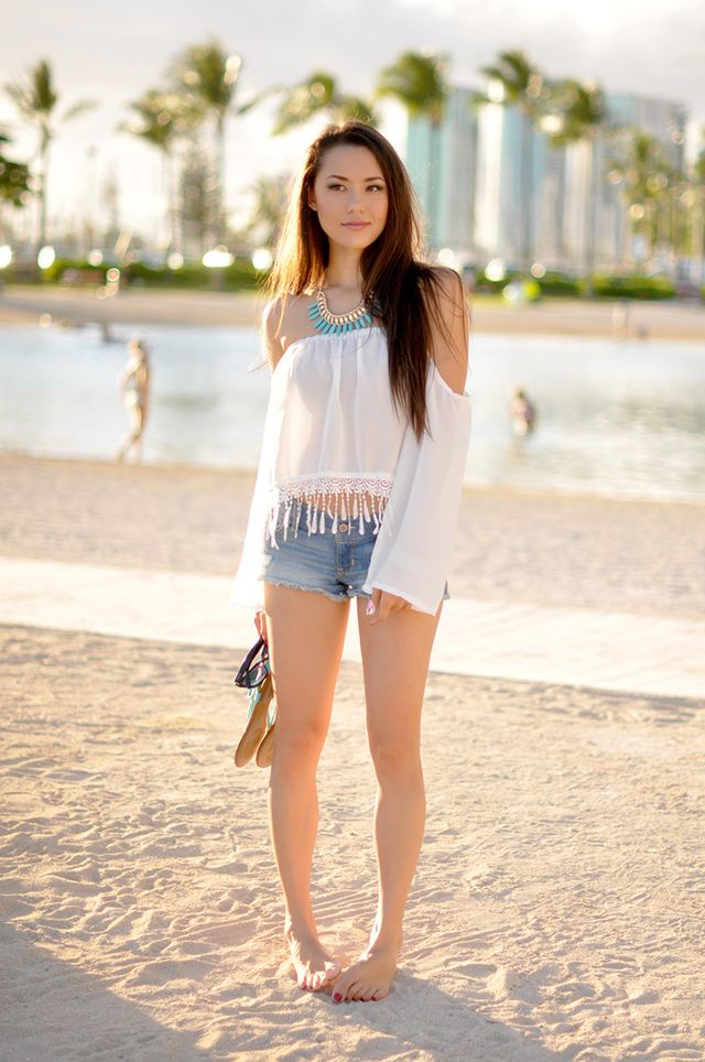 Boho jean shorts outfits for woman