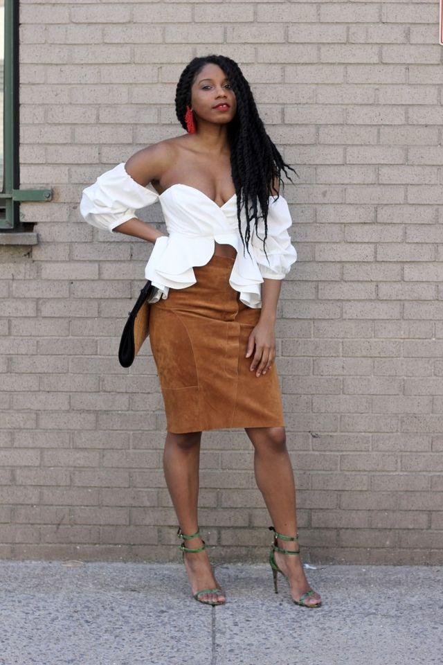 Suede pencil skirt and off-shoulder ruffled top for club outfits for women