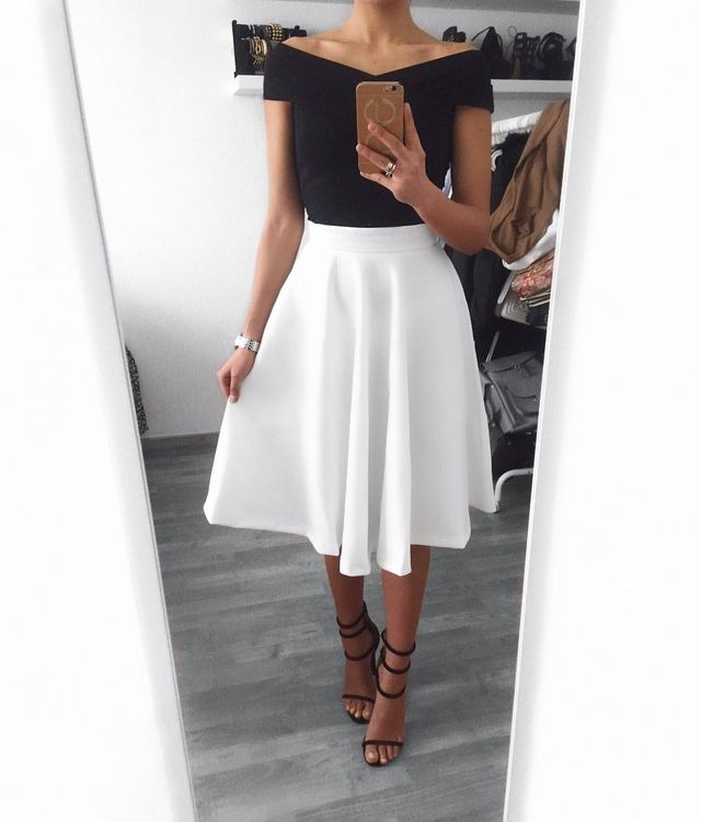 Outfits with white skirt