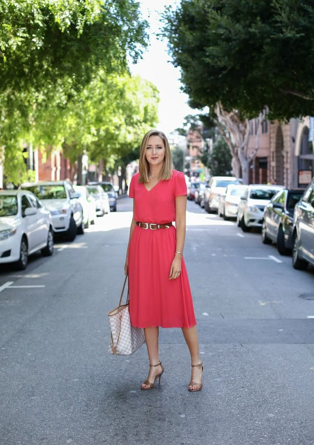 A colored dress for a summer business casual outfit