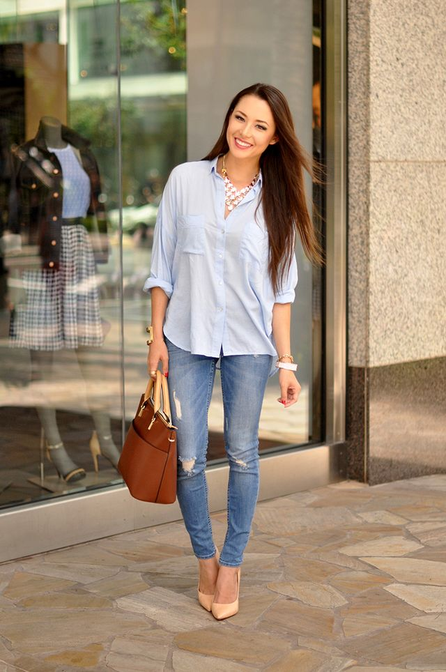 What A Woman Should Wear With Blue Jeans | How to wear a shirt with jeans