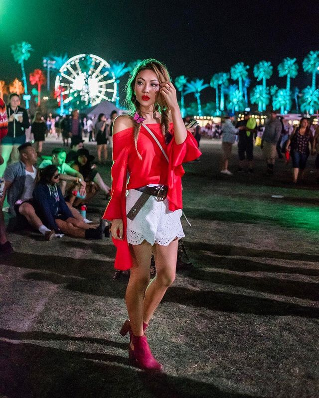Music Festival Outfits with Boots, Shorts And Off Shoulder Blouse