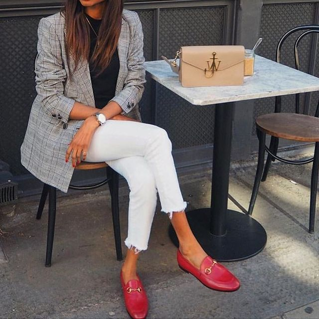 Red casual loafers to wear with white jeans