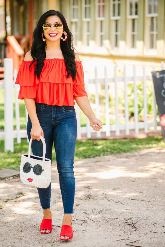 Casual summer outfits with jeans with an off sholder colored top