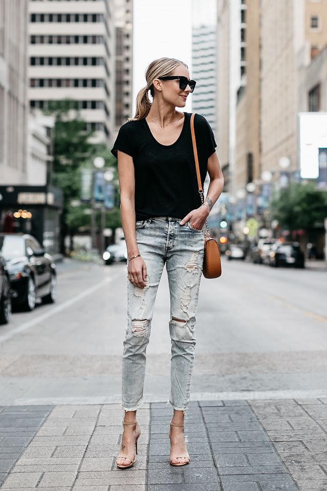 Casual summer outfits with jeans and high heels
