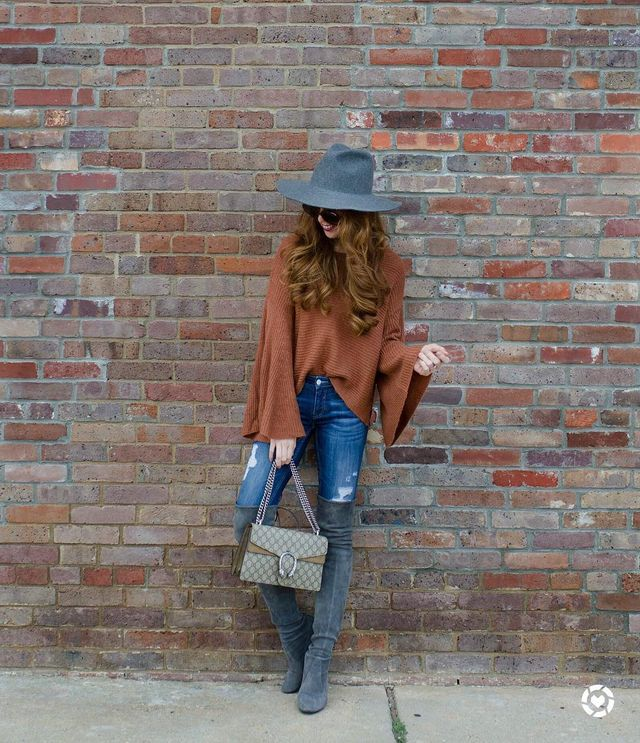 Fall outfits with jeans and over knee boots