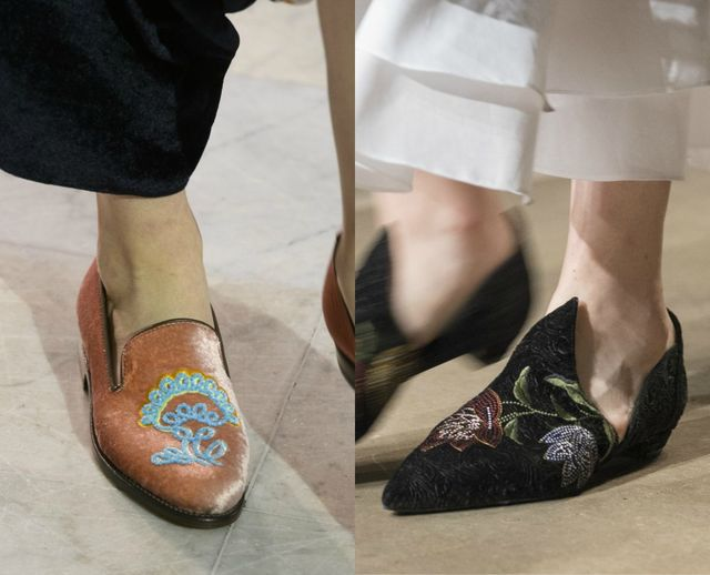 Fall /Winter 2017 shoe trends | Embroided shoes without heels for women