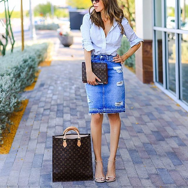 brilliant high waisted jean skirt outfit
