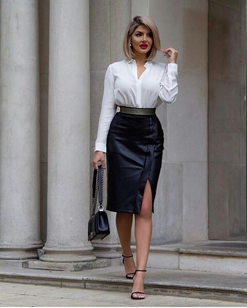 Smart casual black leather skirt outfit