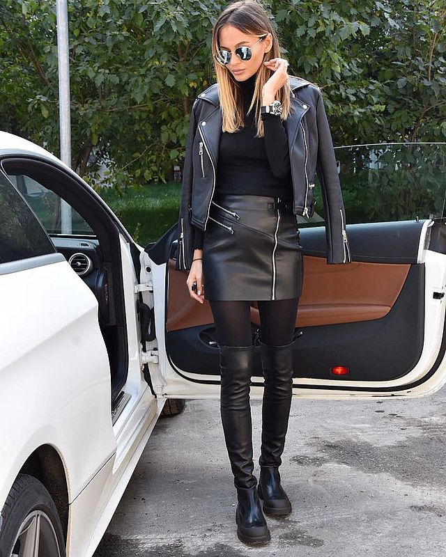 Causal black leather skirt outfit idea with over the knee boots