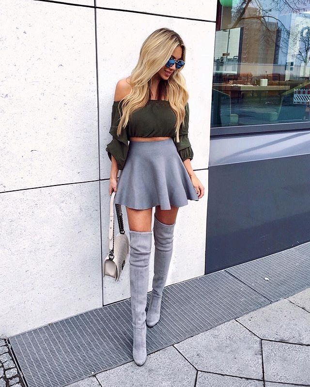 Mini skirt outfit with boots