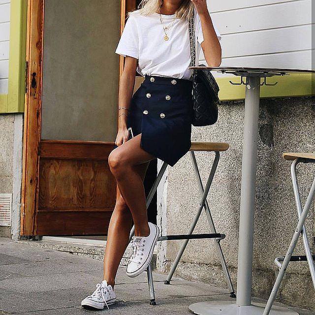 Mini skirt outfit with sport shoes