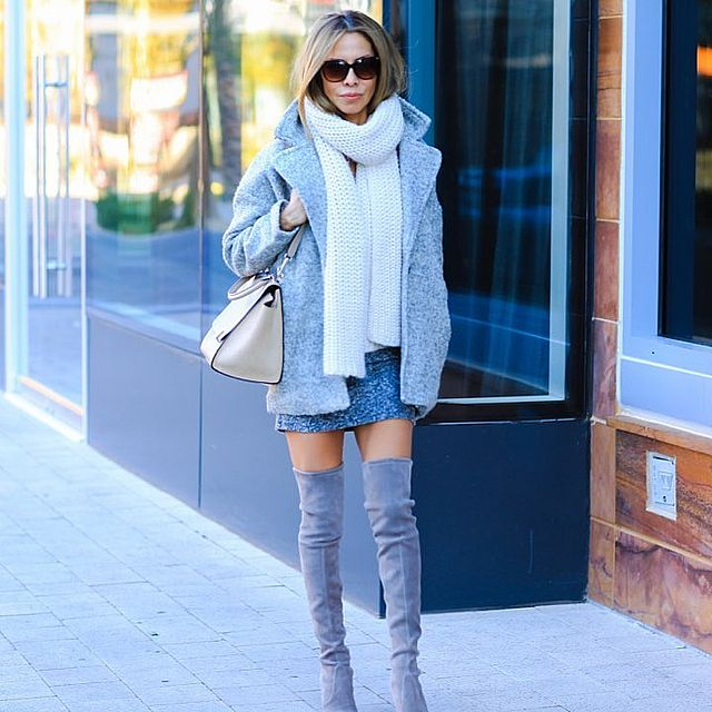 Mini skirt outfit with gray boots