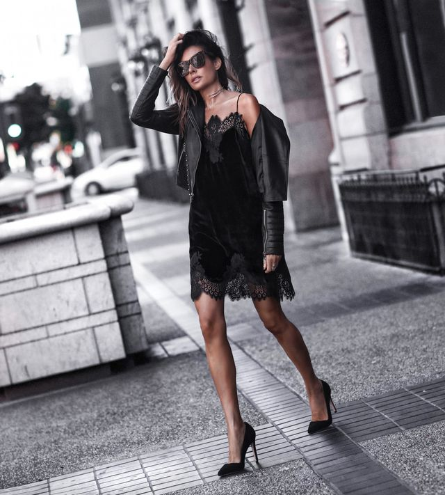 Winter night out outfit with a black slip dress