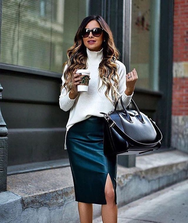 Winter black leather pencil skirt outfit