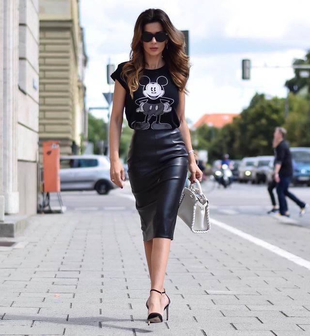 Black leather pencil skirt outfit ideas