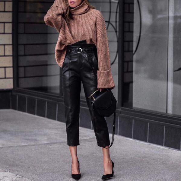 Winter date outfit with black leather pants