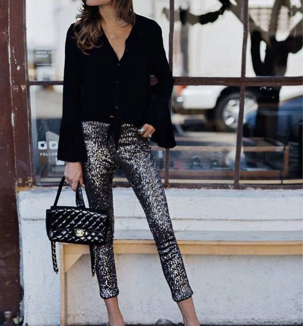 Wear these shiny pants mixed with stilettos and a black shirt for your next winter night out