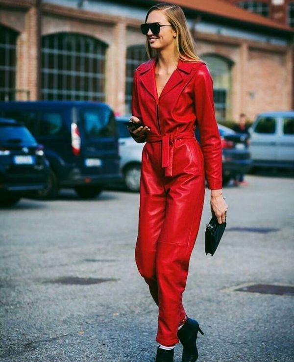 Red outfit for a winter night out