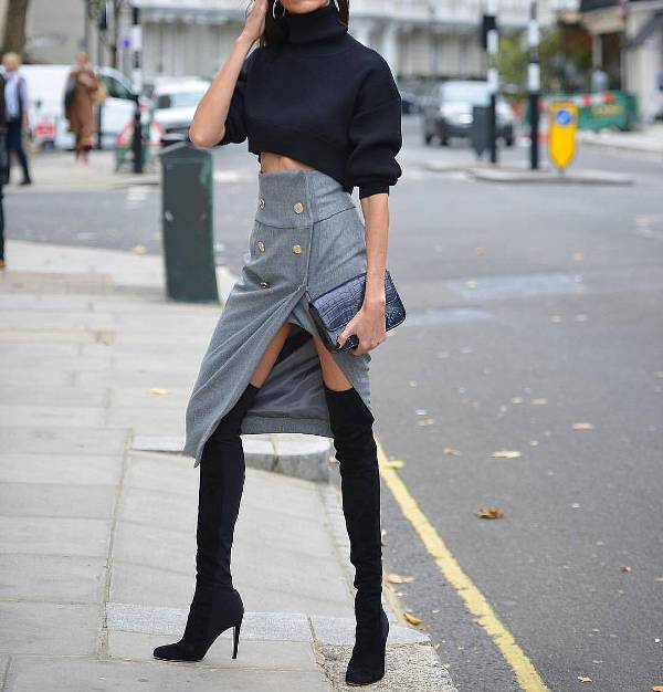 Night winter outfits for women with high heels boots over the knee, cropped top and midi pencil skirt