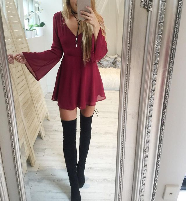 Club outfits for winter with knee-high boots