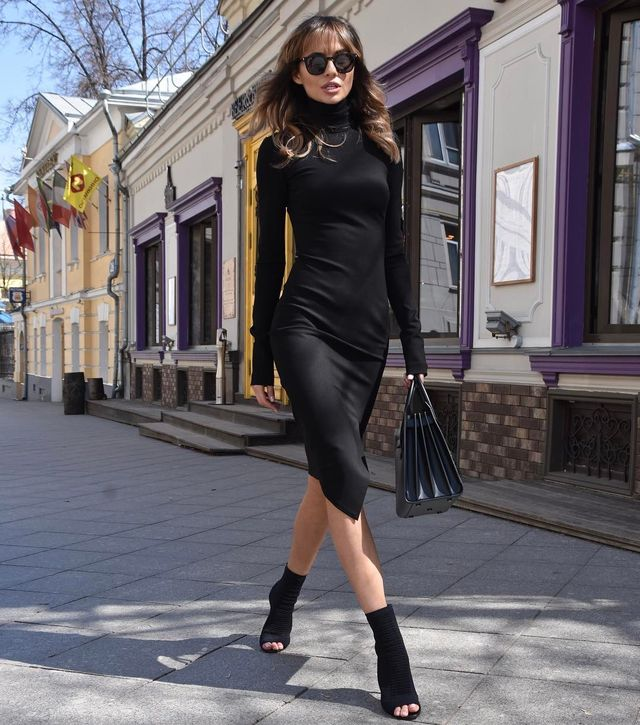 Little black dress winter club outfit