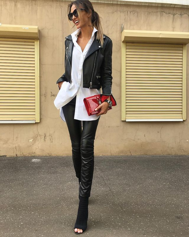 Winter club outfit with leather pants