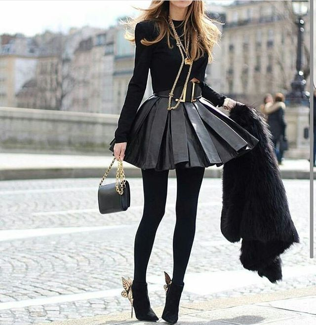 Winter club outfits with leather pleated skirt