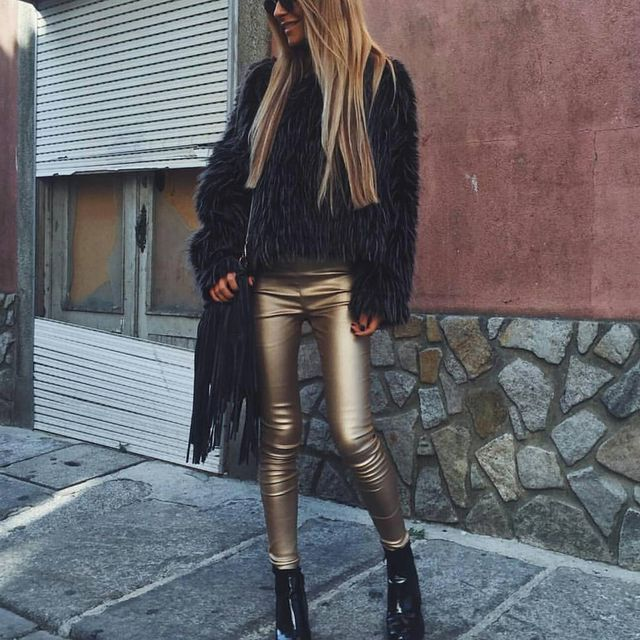 Winter clubbing outfit with leather pants