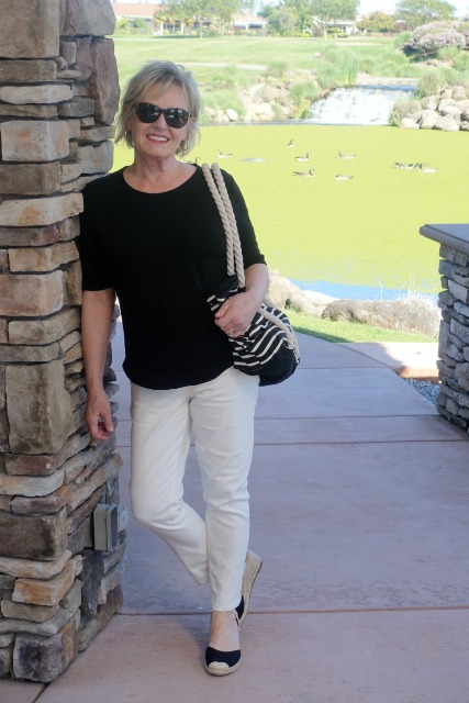Black and cream casual summer outfit for women over 50