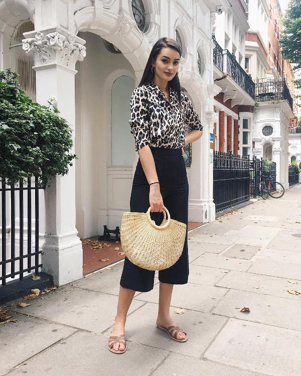 What shoes to wear with culottes: Flat slip-on