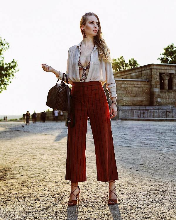 What shoes to wear with culottes: high heels with ankle straps