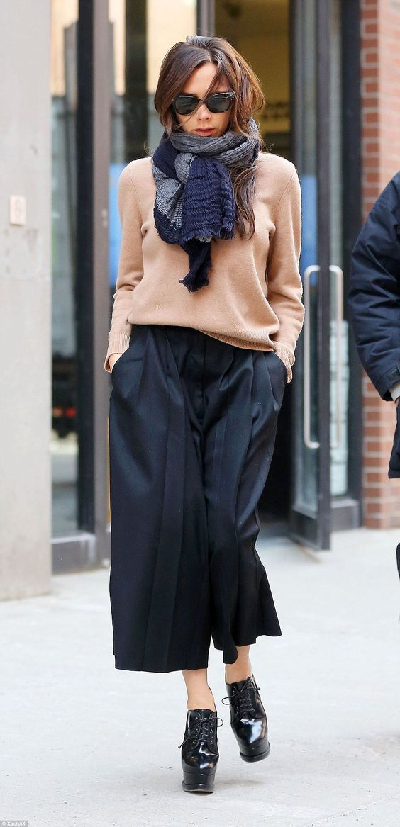 Black culottes outfit with black platforms
