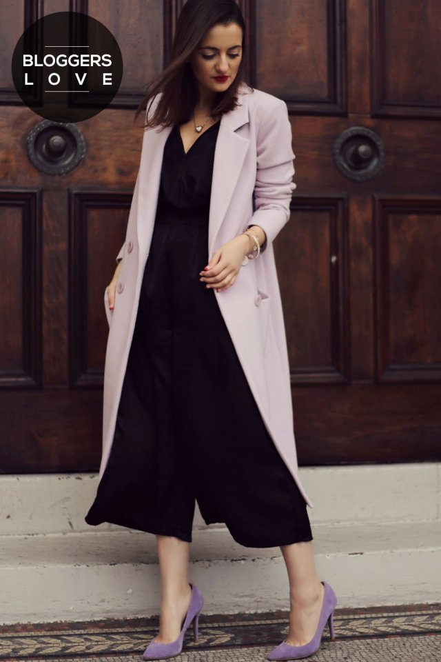 Stylish black culotte pants with long coat and high heels