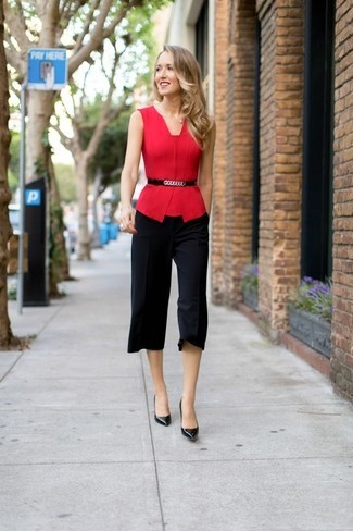 Inspiring black culottes outfit for work