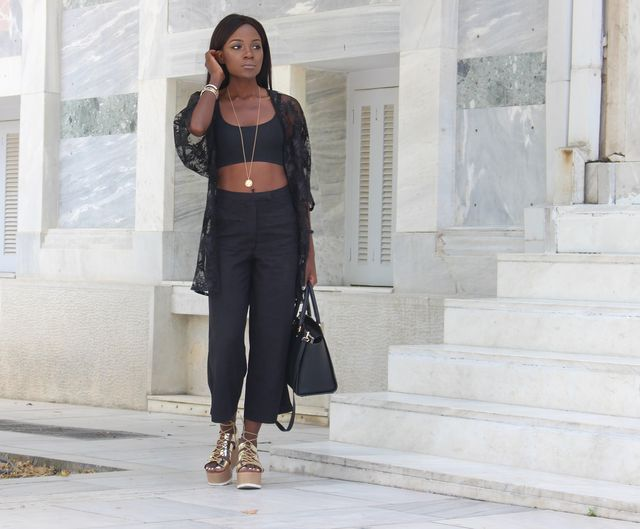 Black wide leg trousers with wedge sandals