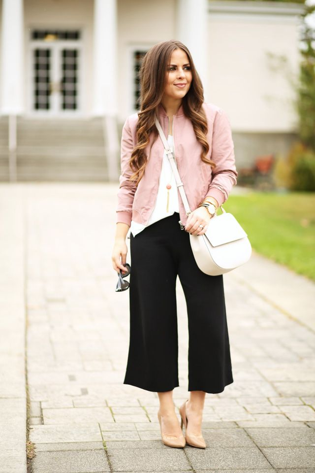 How to wear black culottes pants with nude high heels