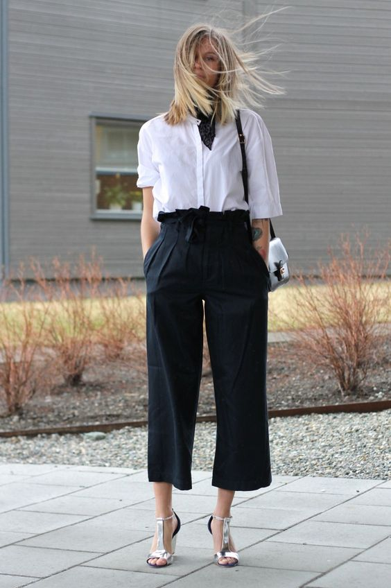 Black culottes outfit for work