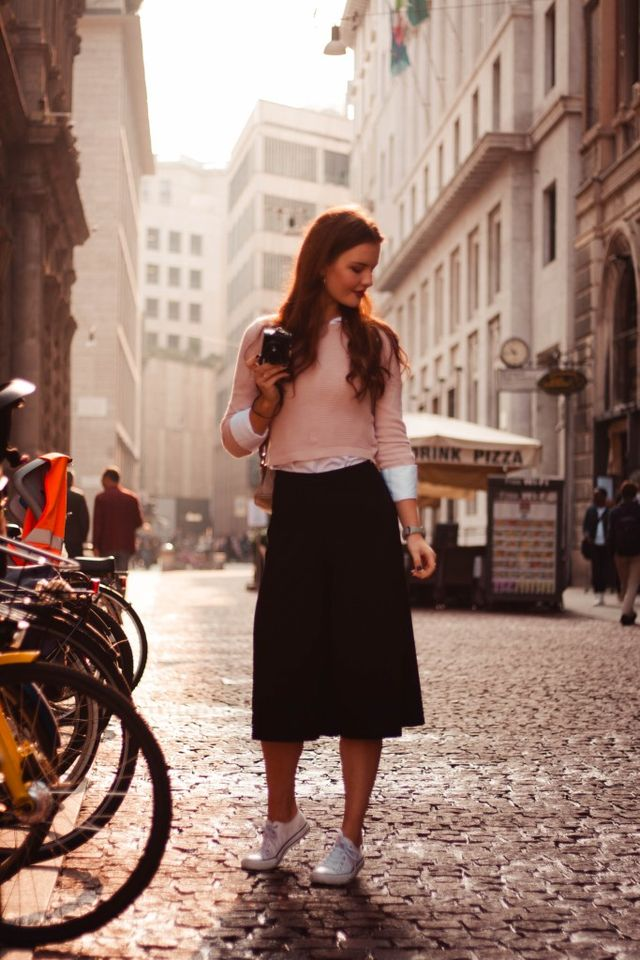 Black culottes outfit with tennis shoes