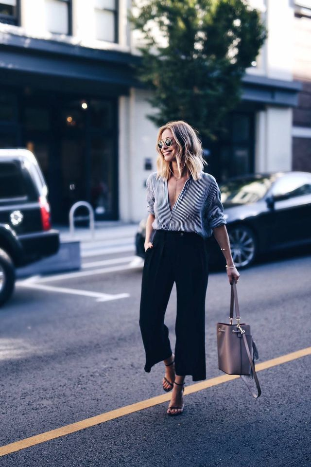 Lovely black culotte pants outfit