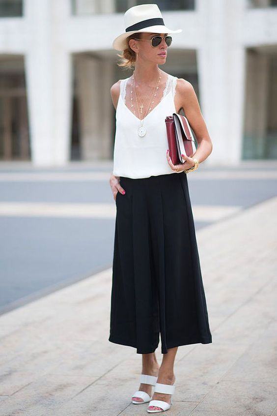 White and black culottes outfits