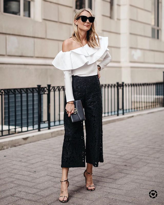 What to wear with black culottes