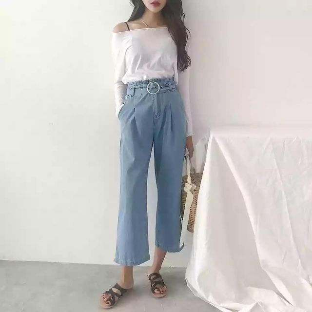 Culottes jeans outfits and flip flops