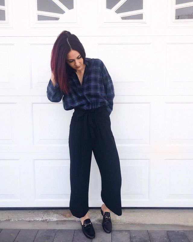 How to wear black culottes pants with flats