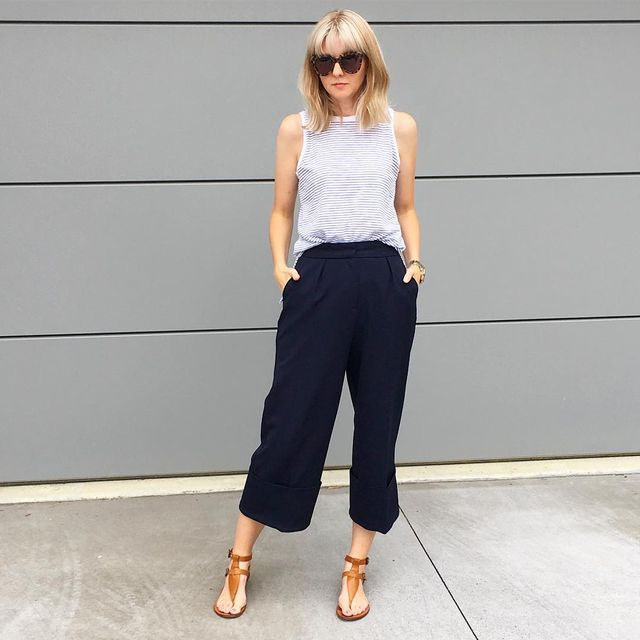 How to wear culottes with sandals