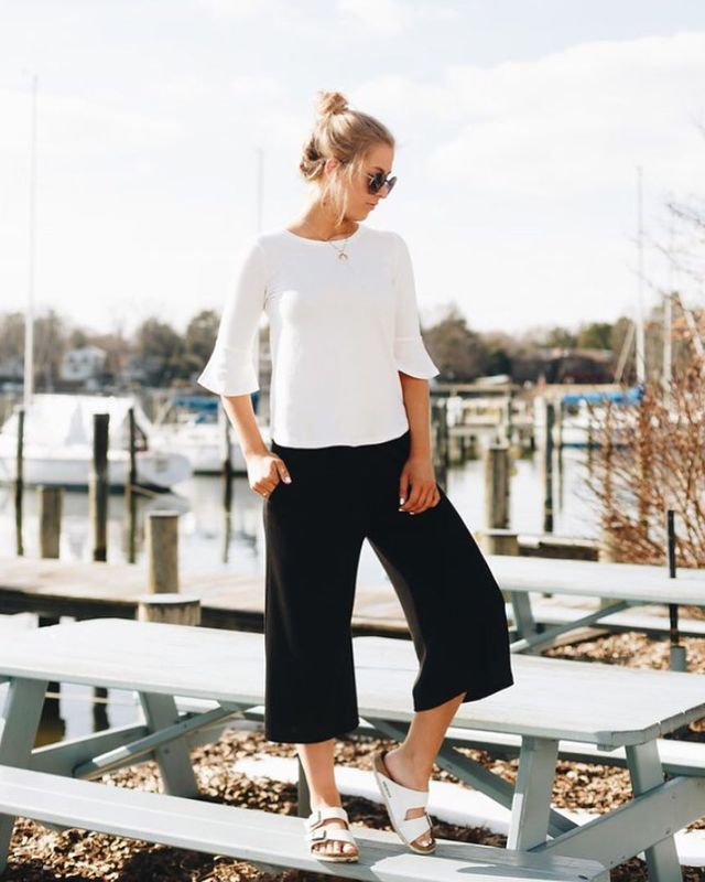 How to wear culottes pants with flats