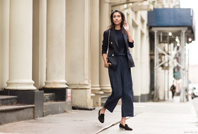 How to wear black culottes with loafers for women
