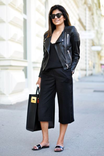 Black culottes outfits from head to toe